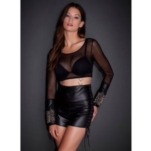 See You Monday Black Mesh Crop Top Studded Grunge
